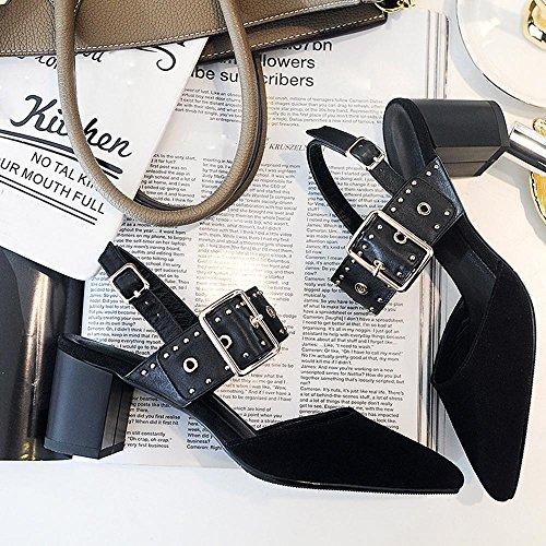 Sandali con Cinturino alla Caviglia Donne Rivestono di Pelle PU Tacco,GJDE Black