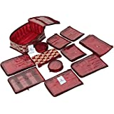 Kuber Industries Brocade Jewellery Organizer With 12 Pouches, Maroon (KUB582)