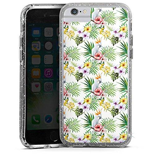 Apple iPhone 6s Bumper Hülle Bumper Case Glitzer Hülle Pattern Muster Flowers Bumper Case Glitzer silber