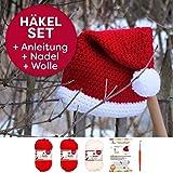 Häkelset Weihnachtsmütze Takaoka Häkelanleitung + 3x Häkelgarn myboshi No.1 Farben: (signalrot weiß, mit Häkelnadel)