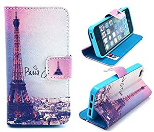 5s Case, iphone 5s Case, iphone 5s cover, ARTMINE Eiffel Tower Morden City Durable Premium PU Leather Flip Folio Book Style Wallet Protective Skin Pouch Phone Case & Magnetic Closure with Credit/ID Card Slot [Inner Silicone T