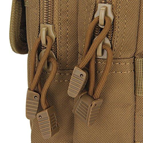 dohot multiuso tattico Molle EDC Pouch con Funzione Impermeabile e 6tasche per escursionismo, campeggio, Green Khaki