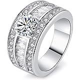 AllRing S925 - Anello da donna in argento semplice con zircone a doppia fila di cristalli, anello in argento, elegante regalo