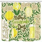 GoHEBE Cortina de ducha de frutas de verano, limón verde, limonada, fondo beige, para baño, tela...