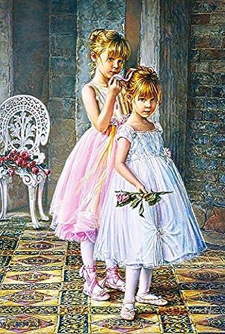 Puzzle 1000 Teile - kleine Ballerinas / Tänzerinnen - Zeichnung - Gemälde - romantisches Motiv - Prima Ballerina Tanz / Ballett - Balletttänzer - Klassik - Mädchen mit Rose - Tanzschule