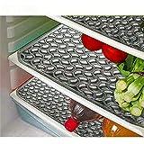 E-Retailer Plastic Fridge Mat Refrigerator Drawer/Fridge Mat Set Of 3 Pcs (12*17 Inches) Multi Purpose Use (Black, Medium)