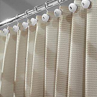 61FGjb24wJL. SS324  - mDesign Cortinas de ducha originales - Las cortinas de ducha de algodón que le dan un toque diferente a su baño - Medidas 180x180 cm - topo