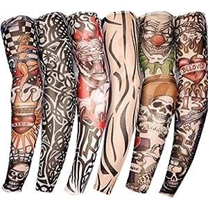 TININNA Manguitos,Juego de 6 Pairs Novedosas Mangas con Apariencia de Tatuaje Real temporales – Diseños Tribal, dragón, Calavera, etc