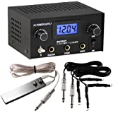 TattooStar Dual Digital Tattoo Power Supply with Foot Pedal and 2 Clip Cords, Black Color