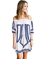 Boldgal Women's Cotton One Piece Printed Cover-up (SBRPSRGJS, White, One Size)