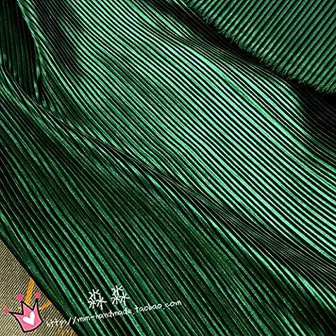 Il nuovo tessuto 1psc l'abbigliamento smeraldo gessato verde fisarmonica raso di seta plissettato schiacciato tessuto (Tessuto Raso Verde)