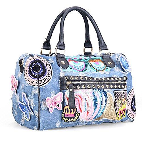 Packingworld Damen Mädchen Fashion Denim Ripped Schultertasche und Umhängetasche und Handtasche Leder Schulterriemen Mehrere Bilder Koreanischer Stil Hell blau