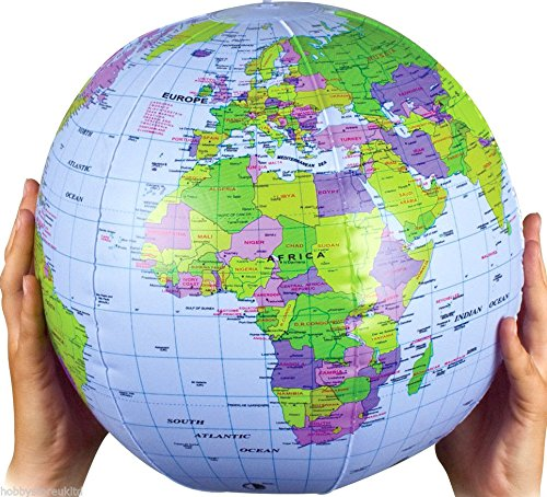 (Inflatable Globe Blow Up Globe World Map Atlas Ball Earth Map Blow Up Ball 40cm by Henbrandt)