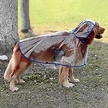 glanzzeit perro transparente chubasquero Poncho de lluvia Chaquetas ajustable fresca para grandes perros medianos 2x l a 6X L