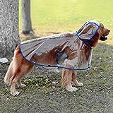 Glanzzeit Durchsichtiger Regenmantel Haustier Wasserdichte Regenjacke Verstellbares Regencape für Mittlere Große Hunde 2XL bis 6XL (4XL, Blau)