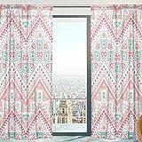 Mnsruu Rideaux Voilage Fenêtre Tribal Ethnique Souple Tulle Voilage pour Salon Chambre 140 x 213 cm 2 Panneaux