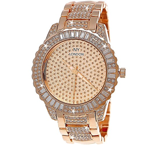 Edle XXL designer Strass Damenuhr Damen Armband Uhr in Rose Gold inkl. uhrenbox