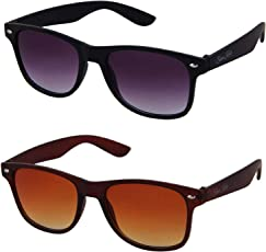 Silver Kartz Combo of 2 Wayfarer Unisex Sunglasses(Wy-001-005|50|Black, Brown)