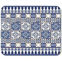 Almohadillas para Mouse Añil Azul Magnífico de Las Tejas y la Frontera Marroquí Portugués Azulejo Ornamentos