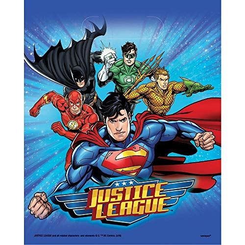 Neu: 8 Partytüten * Justice League * für Kindergeburtstag und Motto-Party | Kinder Geburtstag Mitgebsel Tüten Superheld Batman Flash Aqua Man Superman