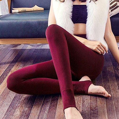 LVLIDAN Leggings Pants LVLIDAN Damen Stretch Hose Leggings Innenfutter Winter Primer Eindickung komfortabel Alle Codes Rot