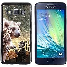 DEMAND-GO Smartphone Rígido Protección única Imagen Carcasa Funda Tapa Skin Cover Case Para Samsung Galaxy A3 SM-A300 - polar bear white night painting boy