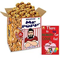 BOGATCHI Mr.POPP's Caramel Popcorn, 100% Mushroom Popped Crunchy Best Quality Kernels, Handcrafted Gourmet Popcorn, Best Anniversary Gift, 250g + Free Happy Anniversary Greeting Card