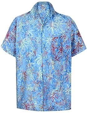 *La Leela* Spiaggia degli Uomini del Cotone della Camicia Pulsante Hawaiano Palmo Verso Il Basso Manica Corta...