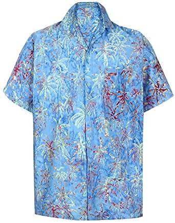 *La Leela* Spiaggia Degli Uomini del Cotone Pulsante Camicia Hawaiana di Palma Casuale del Manicotto Lungo Breve Blu s
