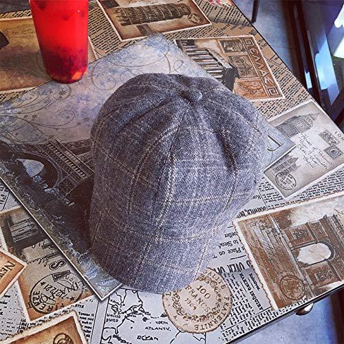 Zaosan Britische Retro-Zeitungsjunge Maler Hut Plaid Wolle achteckigen Hut weiblichen Herbst und Winter koreanische literarische Kappe Berley Hut