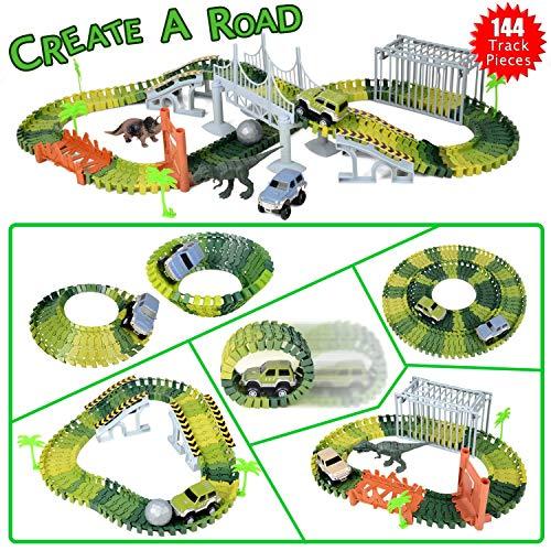 KidsHobby Auto Rennstrecke Kinder, Autorennbahn Set Auto Rennstrecken-Sets Dinosaurier Spielzeug Jurasscic World Car Track Spiel Set mit 144 Stücke, 2 Dinosaurier und Wagen Autorennbahn - Spielzeug-rennstrecke