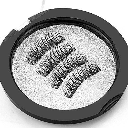 Magnetische Wimpern, Dual Magnetic Eyelashes, 3D Wiederverwendbare Falsche Magnetische Wimpern, 0.2MM Ultra Dünn Natürlicher Look (1 Paar 8 Stück)