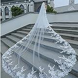 2e7742901b GYMAN Velo de novia Catedral Longitud de la boda velos con peine 3 m de encaje  Velo largo blanco encaje accesorios