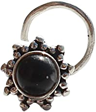 Geode Delight 925 Sterling Silver Nose Pin Studded With Black Onyx Stone For Girls And Women