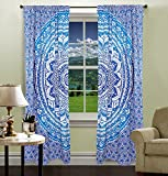 Blue Ombre Mandala Printed Valances Drapes Window Curtain Wall Tapestry Decorative Curtains Bedroom Curtain Set Window Treatment By Handicraft-Palace