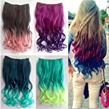 2013 New Two Tone One Piece Long Curl/curly/wavy Synthetic Thick Hair Extensions Clip-on Hairpieces 5 Colors (black)