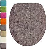 PROHEIM WC-Deckel-Bezug Flauschiger Toilettendeckelbezug Klodeckelbezug mit Gummizug Premium Badteppich Oval 1200 g/m² Weich & Kuschelig Hochflor, Farbe:Taupe