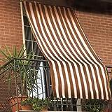 Tenda da sole per esterno in tessuto a righe con anelli per balcone, terrazzo, casa - Cm 150x250 - Marrone