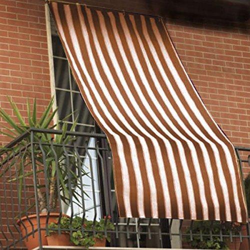 Galleria fotografica Coppia tende da sole per esterno in tessuto a righe con anelli per balcone, terrazzo, casa - Cm 150x250 - Marrone
