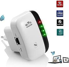 Aigital WLAN Repeater 300 Mbit/s WLAN Signal Verstärker Access Point Wifi Booster Repeater (2,4 GHz, 1x Fast-Ethernet Port, WPS, Kompatibel mit Allen WLAN Geräten)