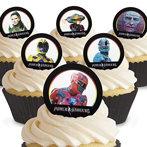 12 x Vorgeschnittene und Essbare Power Rangers Kuchen Topper (Tortenaufleger, Bedruckte Oblaten, Oblatenaufleger)