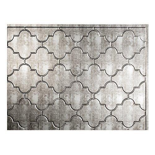 Fasade Easy Installation Monaco Crosshatch Silver Backsplash Panel for Kitchen and Bathrooms (18 x 24 Panel) by Fasade (Fasade Panels Backsplash)