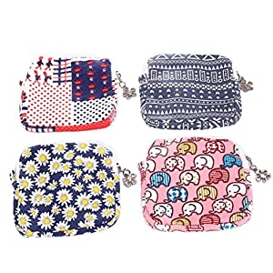 Hunpta Zipper Coin Purse Women Girl Cute Sanitary Pad Organizer Holder Napkin Towel Convenience Bags
