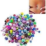 Milnnare 100 Piezas De Bola De Color Mezclado Ombligo Anillos Ombligo Barbell Body Piercing Joyería Para Mujeres Y Niñas, Lla