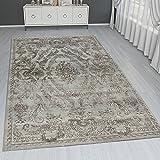 Paco Home Orient Teppich Modern 3D Effekt Bordüre Ornamente Gold Grau Schimmernd, Grösse:80x300 cm