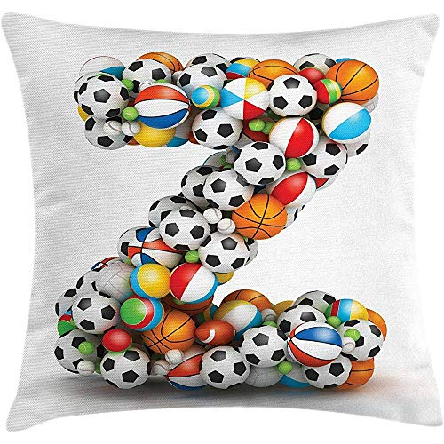 Throw Games Z Different Children Activity HobbyDecorative CoverColorful A Pillow Fun Cushion Balls Forming For Accent Square Letter 2EDH9YWI