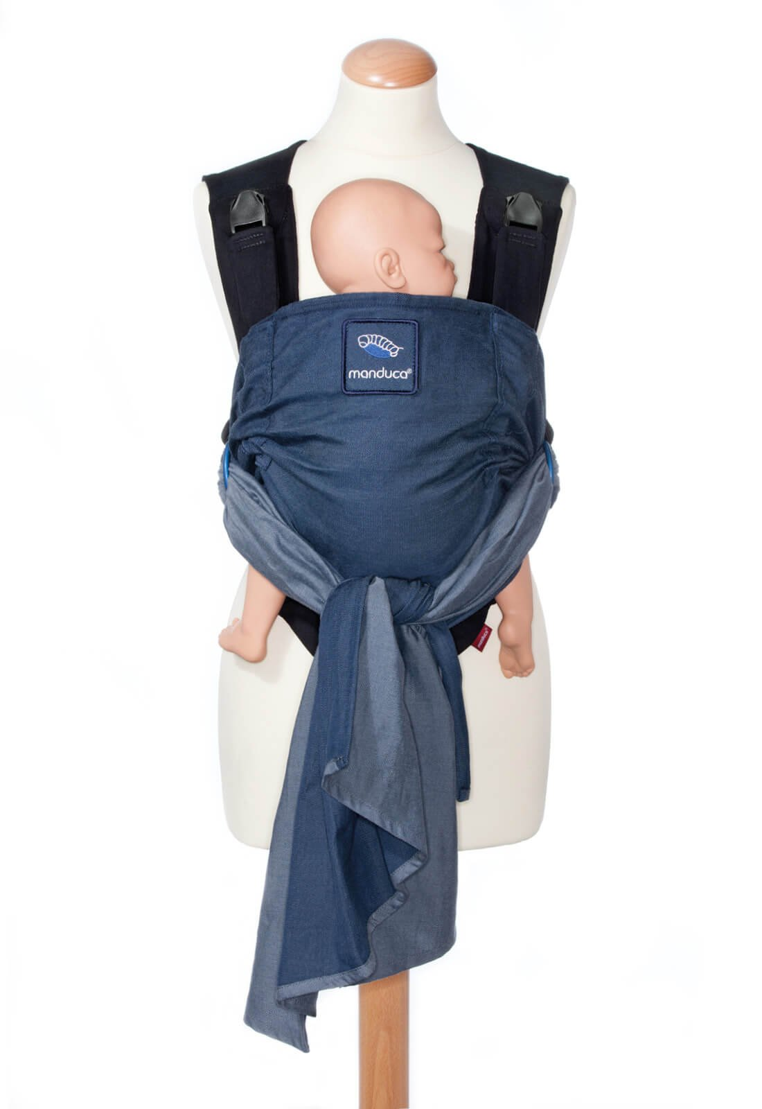 manduca Duo - Hybrid of Baby Carrier and Sling, Innovative Click &Tie System, Baby Slip-Through-Protection, Removable Hip Belt, Organic Cotton and Mesh, from Birth to 15kg (Blue) Manduca Optimized as front carrier, with slip-through protection (secure fit for your baby), supports the M position, for newborns from birth to infants up to 15 kg Especially popular with first-time parents who find it difficult to choose between a sling and a comfort carrier with buckles. Easy to use, illustrated instructions Detachable hip belt, which is only zipped on when needed (up to 140cm circumference without belt extension). Ideal for mothers with sensitive belly and after cesarean section, good weight distribution, comfortable on the shoulders. 4