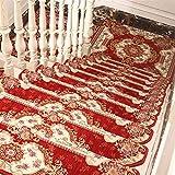 Liveinu Selbstklebend Stufenmatten Treppen Teppich Halbrund Waschbar Starke Befestigung Anthrazit Klassisch Treppen-Matten 24x65cm (15 Stück) Rot