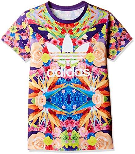 adidas Originals Flower Garden Trefoil Kinder Shirt Blumen LILA BUNT 110-170, Größe:110, Farbe:Mehrfarbig (Adidas Kinder Blume)
