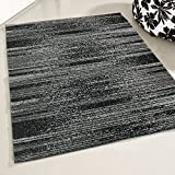 mynes Home Moderner Teppich Kurzflor Grau Schwarz liniert meliert Wohnzimmerteppich Jugendzimmer Trendiges Design (160 x 220 cm)